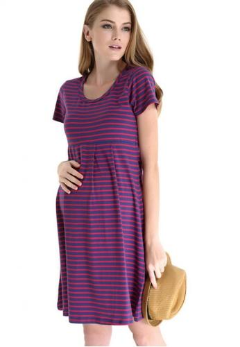Bove by Spring Maternity multi Knitted Short Sleeved Patience Stripe Skater Dress Stripes LD1402 SP010AA33WFMSG_1
