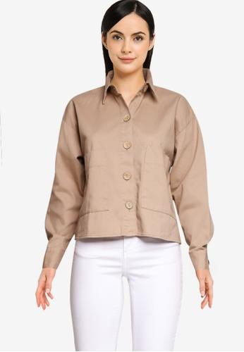 LC Waikiki brown Pocket Detailed Gabardine Shirt 165E2AAE63616BGS_1
