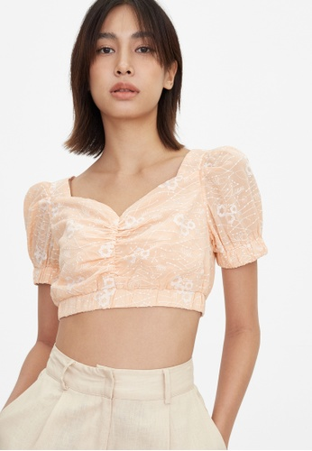 Pomelo orange Embroidered Floral Crop Top - Peach 2C139AAE826ED7GS_1