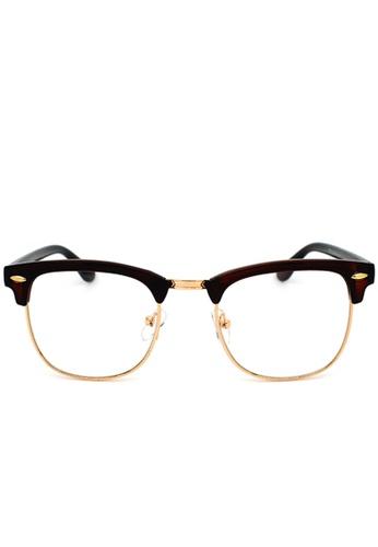 9a250559bb2b Buy Elitrend Unisex Half Frame Designer Glasses in Brown Online on ZALORA  Singapore