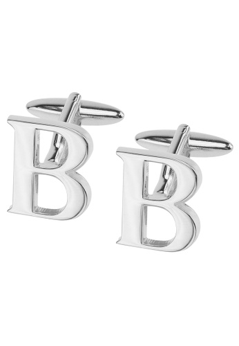 CUFF IT silver Initial Alphabet B Cufflinks CU047AC2VHDZHK_1