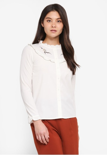 Yoco white Frill Front Embroidery Blouse 74277AA9EE87C0GS_1