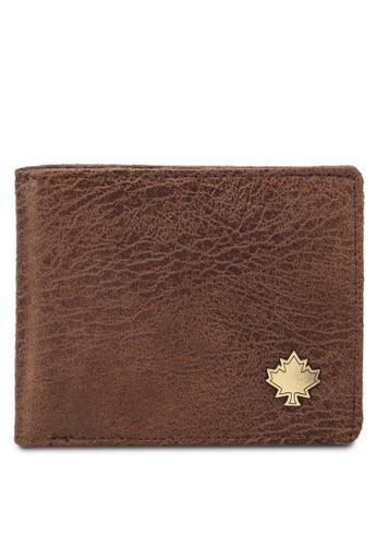 Lumbesalon esprit 香港rjacks 暗紋徽章對折皮夾, 飾品配件, 皮革