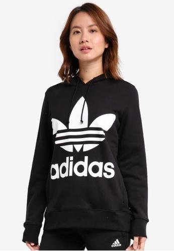 adidas black adidas originals trefoil hoodie AD372AA0SVBKMY_1
