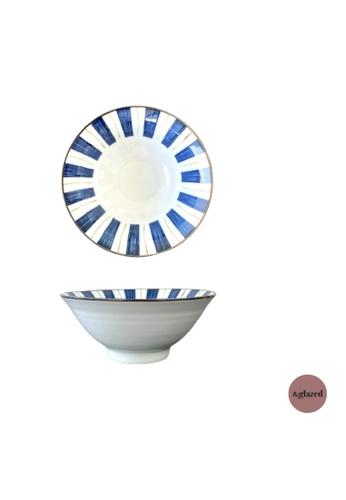 &glazed white and blue &Glazed Ren 7-inch medium round bowl Stripes 729B2HL1B63114GS_1
