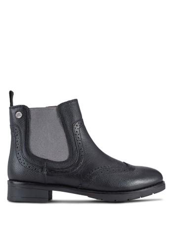 Pinezalora 鞋評價ville 側彈性帶沖孔雕花短靴, 女鞋, 鞋