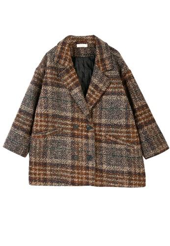 Its Me brown Loose Plaid Lapel Woolen Coat A3DB6AAD7D9A0BGS_1