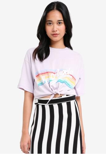 "TOPSHOP purple ""LA""™ Rainbow T-Shirt 6403CAABA0EDD4GS_1"