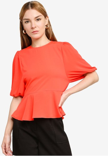 Origin by Zalora red 100% Recycled Polyester Babydoll Balloon Sleeve Top 23063AABF7EE32GS_1