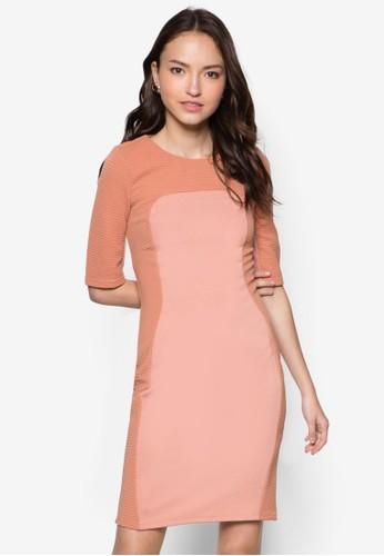 五分袖暗紋拼接連身裙zalora鞋, 服飾, 洋裝