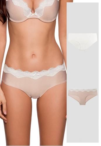 Dorina white and brown Bianca Hipster Panties 2 Pack DO523US0SASVMY_1