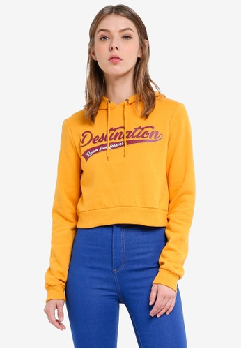 Supre yellow Graphic Cropped Hoodie 46A7FAA9020AB3GS_1