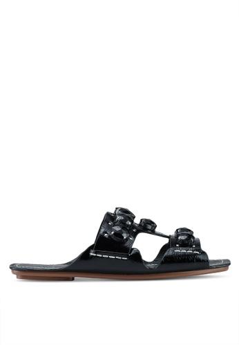 TOPSHOP black Gem Sandals 960BASH77CC2E0GS_1