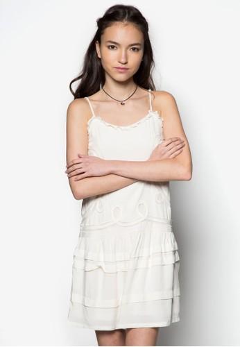 網眼拼接esprit outlet hong kong層次連身裙, 服飾, 派對洋裝