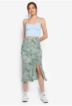 8fe20a5a8e TOPSHOP Petite Green Wavy Animal Satin Bias Skirt S$ 79.90. Sizes 4 6 8 10  12