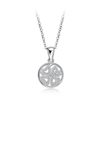 Glamorousky white 925 Sterling Silver Fashion Elegant Four-leafed Clover Round Pendant with Cubic Zircon and Necklace FDDE5AC70A6D5DGS_1