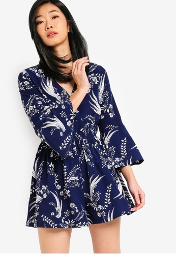 Something Borrowed navy Flare Sleeves Playsuit 0D7D0AAA506E73GS_1