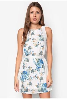 Floral Print Dress With Sash