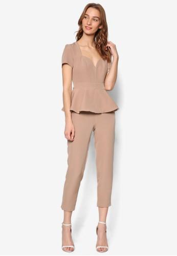荷葉狀層次蓋袖連身長褲,esprit專櫃 服飾, 連身褲
