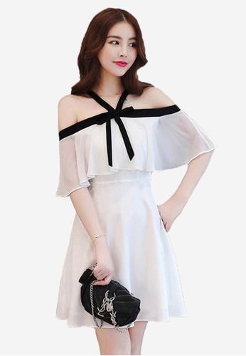 Halo white Chiffon Off Shoulder Party Dress LI354AA57PYOSG_1