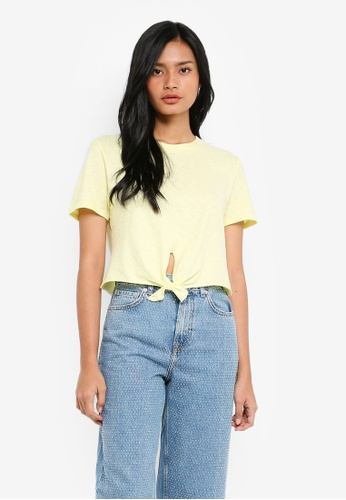 TOPSHOP yellow Knot Front T-Shirt D259AAA075F817GS_1