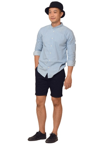 Praise navy Solid Colored Shorts PR067AA73QAWSG_1