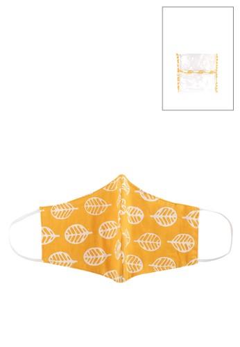 La Maison D'Evolette yellow Dewi Mask & Pouch With Jeune Stamped Batik (3 ply) F6C7FES28E5232GS_1