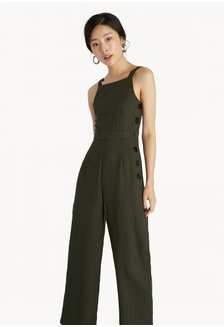 6a073562cd1 Gingham Buttoned Jumpsuit - Olive 0618EAA1DA4815GS 1