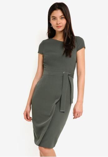 Dorothy Perkins green Khaki Asymmetric Belted Dress 796DEAAABE9240GS_1