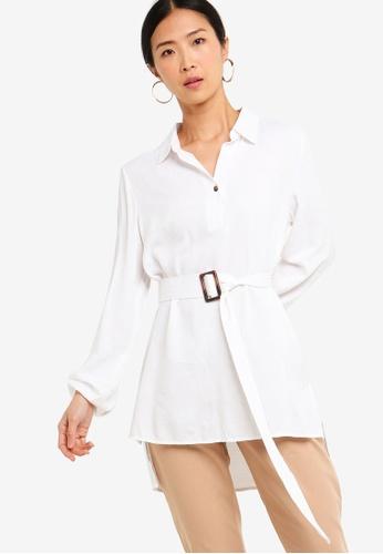 ZALORA BASICS white Basic Oversized Belted Tunic EF8B4AAE474F5CGS_1