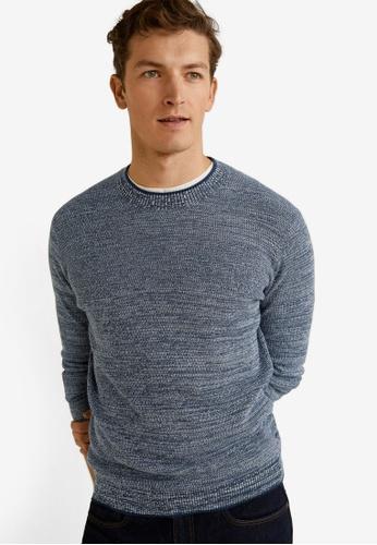 Mango Man 藍色 Flecked Structure Cotton Sweater BF8D3AA20DF24FGS_1