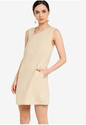 ZALORA WORK beige Asymmetric Shift Dress BE82CAA26D5989GS_1