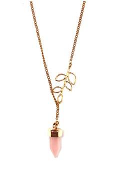 Leaf Rose Quarts Pointed Crystal Necklace