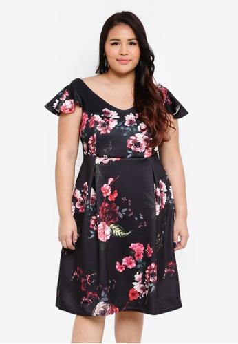 Dorothy Perkins black Plus Size Black Floral Scuba Dress 4FF52AA84B9ED2GS_1