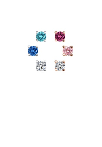 Glamorousky silver 925 Sterling Silver Simple and Exquisite Mix and Match Color Geometric Round Stud Earrings with Cubic Zirconia 6BF2CAC23810C4GS_1
