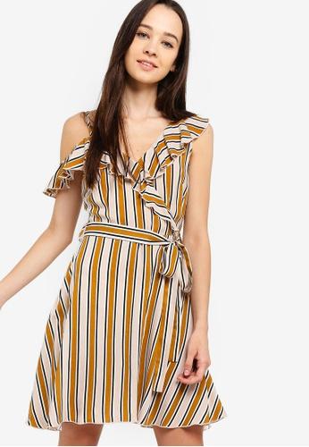 Something Borrowed beige Cold Shoulder Ruffles Dress 335E5AAA5479D9GS_1