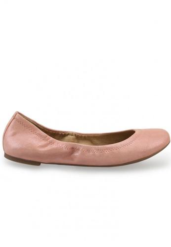 Shu Talk pink Metallic Sheepskin Suede Round Toe Ballet Flats SH617SH2USD6HK_1
