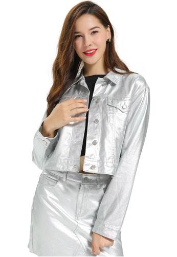 London Rag silver Shiny Metallic Denim Jacket 5C065AA931C9DEGS_1