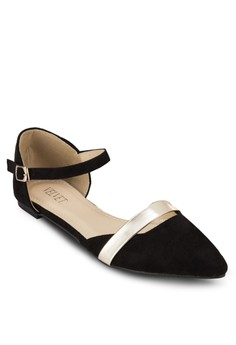 Posh Ankle Strap Flats With Golden Front Plating