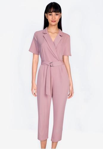 ZALORA BASICS 粉紅色 Resort Collar 扣環連身褲 0101DAA8BE7658GS_1