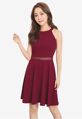 Yoco red Lace Detail Halter Dress B5B83AA0395EA3GS_1