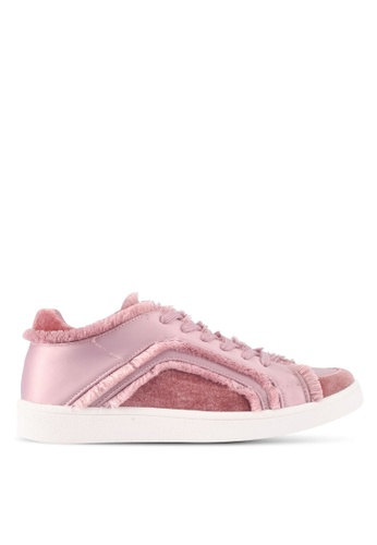 ZALORA pink Raw Edge Frills Lace-Up Sneakers 10A72SH44BBAD8GS_1