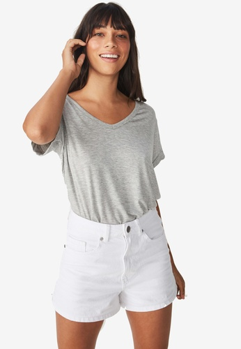 Cotton On grey Karly Short Sleeve V Neck Top 205E1AA5B8CD8EGS_1