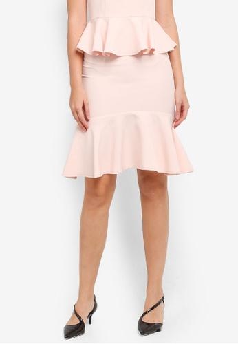 ZALORA pink Fluted Hem Skirt 5D241AA95F3C7DGS_1