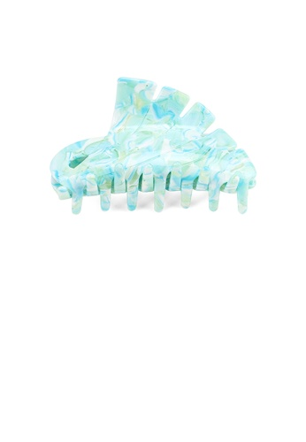 Glamorousky silver Fashion High-end Ocean Blue Patterned Geometric Large Hair Claw 55C7BAC26A6F63GS_1