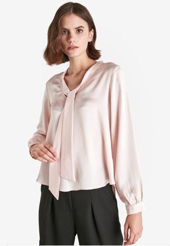 Trendyol pink Long Sleeve Tie Detail Blouse 312DAAA5ABAD77GS_1