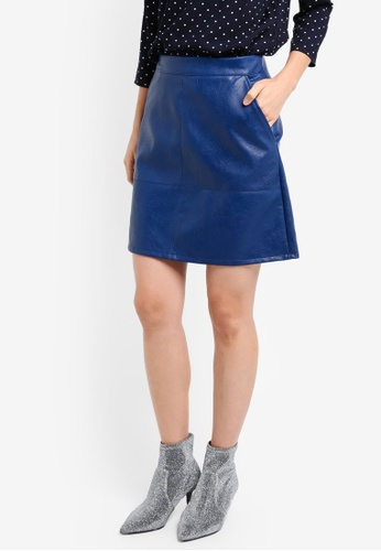 ONLY blue ONLY ONE Lisa Faux Leather Short Skirt ON573AA0ST2RMY_1