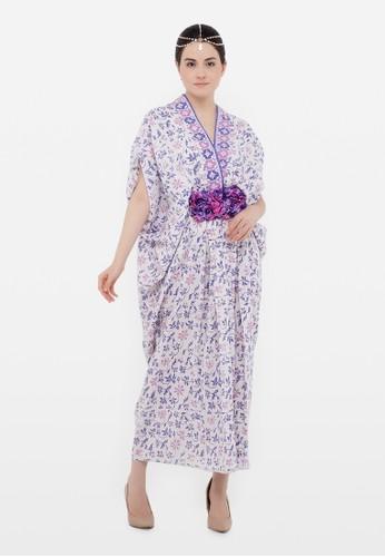 Kimore Studio white and lilac purple Kaftan Midi Dress - Batik Cap Dobby - Floral Lilac C25BDAA549E792GS_1