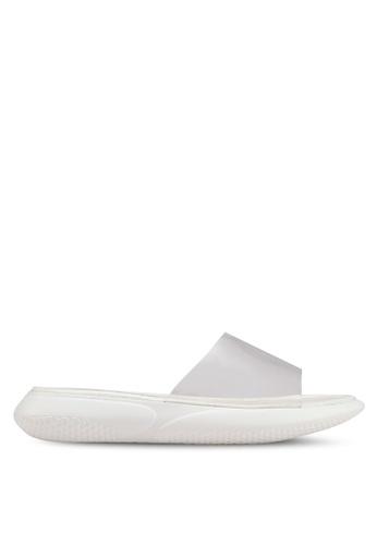 BETSY 白色 半透明拼接拖鞋 51D6ESH5E88C1CGS_1