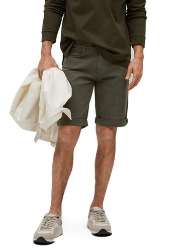MANGO Man green Stretch Cotton Denim Shorts 9AB68AA29EE414GS_1